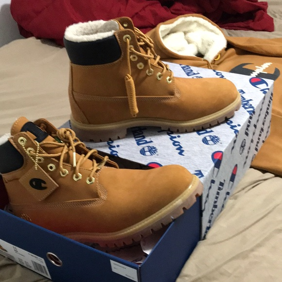 Timberland x Champion Hoodie and Shoes NWT